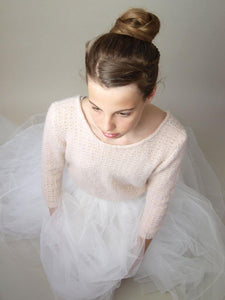 Wedding sweater knitted in powder, ivory and white for Boho and Bohemian Brides
