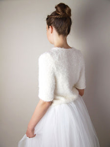 Cosy bridal knit sweater for your bridal skirt or dress ivory