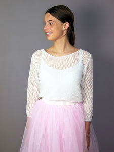 Bridal tulle skirt in pink with knit cashmere sweater