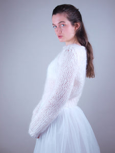 wedding knit pullover with bridal skirt white