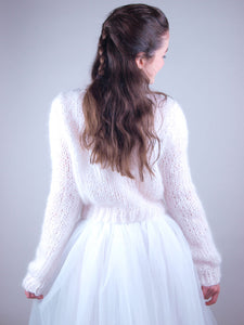wedding knit jumper with bridal skirt white