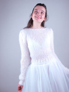 wedding knit sweater white mohair