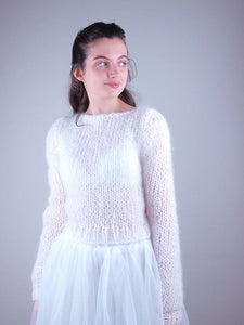 Knit pullover white for brides and woman