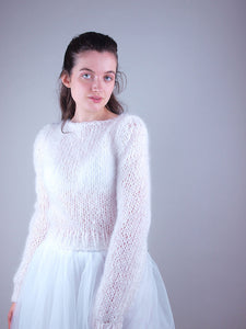 bridal knit sweater white mohair
