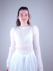 bridal knit sweater with bridal skirt white