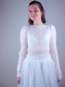 mohair knit sweater with bridal skirt white