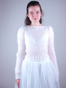 wedding knit sweater with bridal skirt ivory