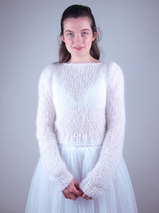 wedding knit sweater with bridal skirt white