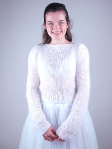 Wedding Sweater MONTI knitted for brides in autumn and winter in powder