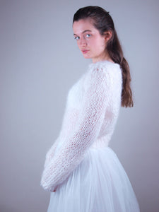 white wedding knit sweater with bridal skirt white