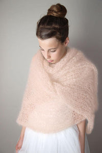 Stole for brides in a light powder knitted