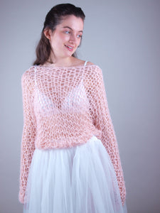 Loose net wedding knit swaater with tulle skirt