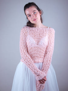 Loose net wedding knit swaater rose