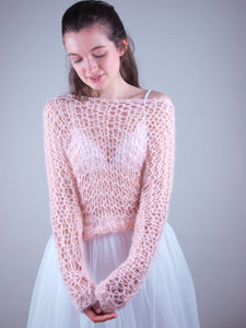 light wedding knit swaater apricot