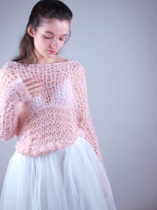 Bridal knit couture sweater apricot