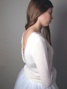 Bridal pullover knitted for your wedding gown in ivory