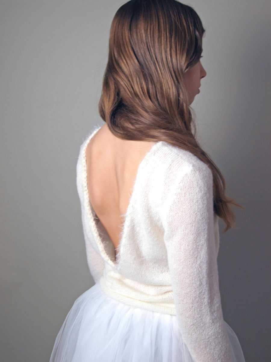Bridal pullover knitted for your wedding skirt with cashmere silk