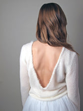 Load image into Gallery viewer, Wedding pullover knitted with deep neck for your bridal skirt