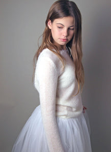 Bridal pullover knitted for your wedding skirt in ivory or white