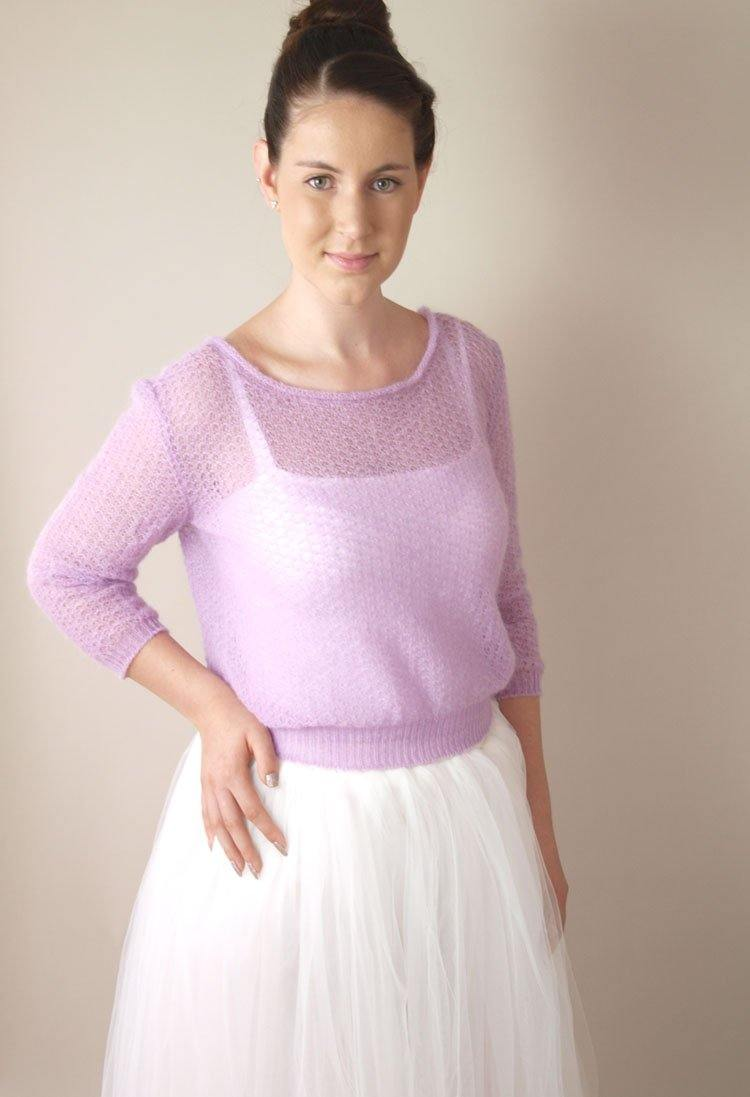 Bridal Knit Sweater lilac for your wedding dress and skirt