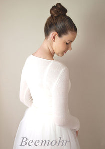 Bridal pullover in ivory knitted with cashmere and silk ivory