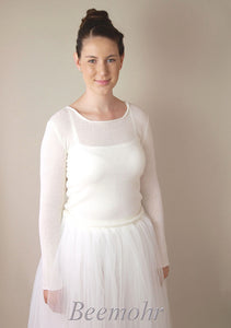 Bridal pullover in ivory knitted for bridal skirts