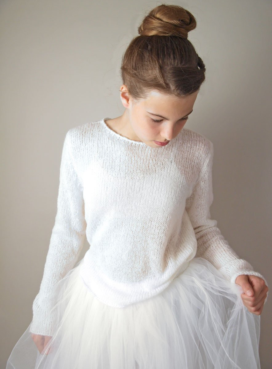 Bridal pullover in chsmere white and ivory for your bridal gown