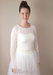 Bridal pullover in ivory knitted with cashmere and silk ivory for bridal gowns