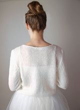 Load image into Gallery viewer, Bridal sweater knitted in chsmere white and ivory for your bridal gown