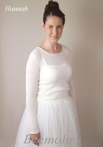Wedding pullover in ivory knitted with cashmere and silk ivory
