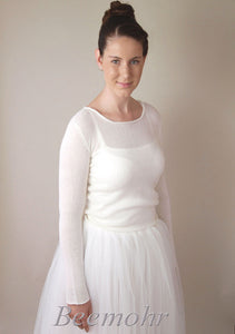 Bridal knit fashion: pullover in ivory knitted with cashmere and silk ivory