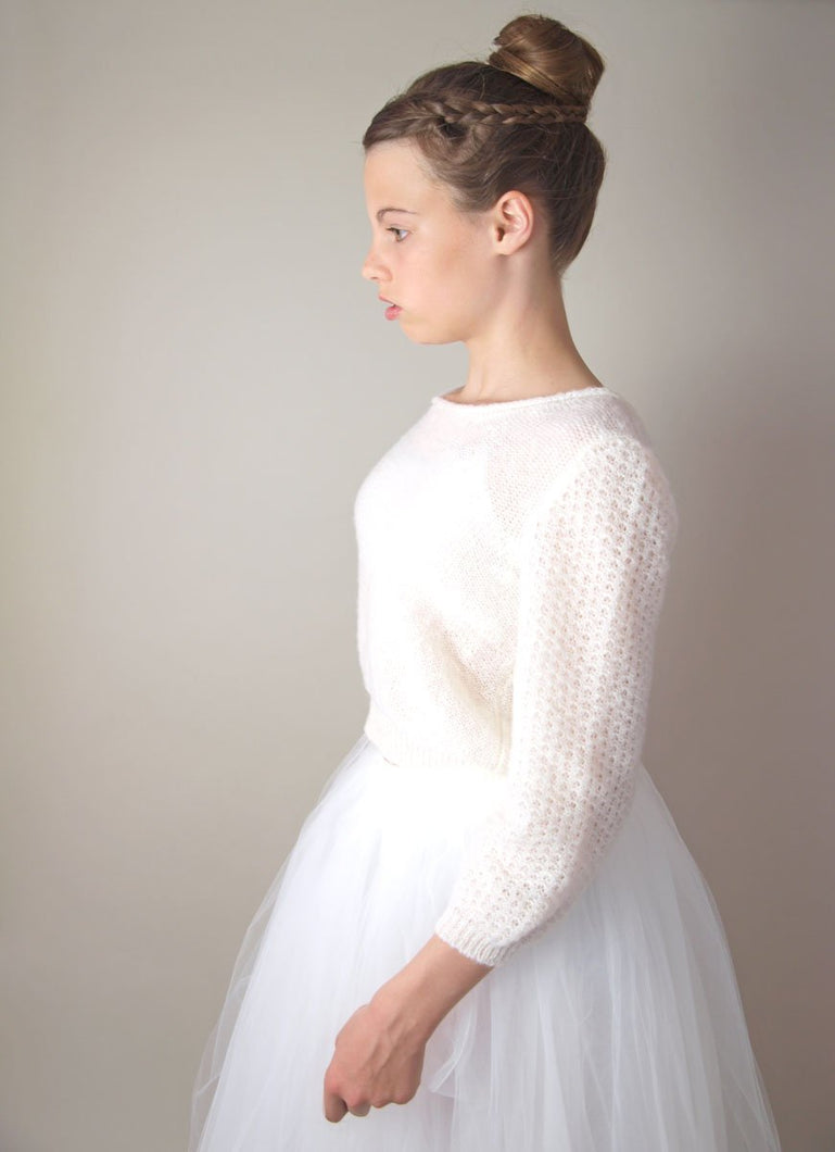 Wedding pullover for your bridal skirt in ivory and white