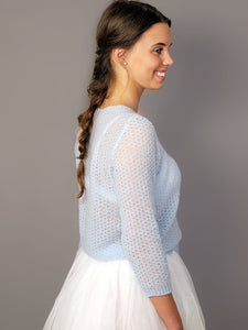Knit pullover PARIS made of CASHMERE in a tender lace pattern for your wedding skirt or dress