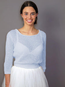 Wedding Knit Sweater pale blue and ivory for your bridal gown