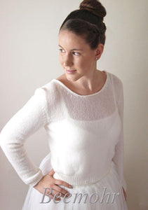 Bridal knit pullover ivory and white made with cashmere