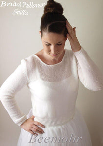 Bridal pullover ivory and white made with cashmere from beemohr