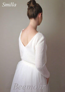 Wedding knit pullover ivory and white made with cashmere