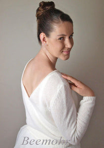 Bridal knit pullover ivory and white made with cashmere and silk
