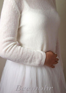 Bridal knit sweater ivory and white made with cashmere
