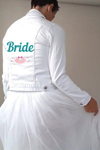 Jeans jacket with transfer sticker Bride