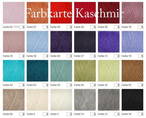 Colour cashmere chart for bridal jackets and sweater