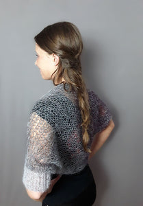 Gray knit bolero for jeans or evening dress