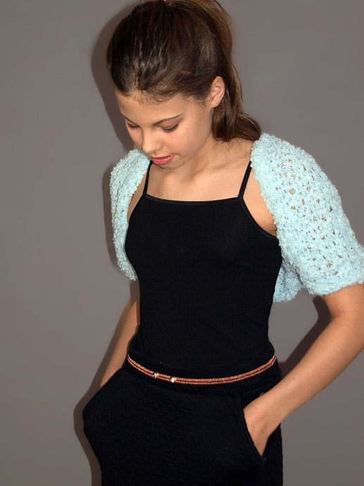 Bolero jacket for kids in pale blue
