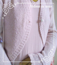 Load image into Gallery viewer, Wedding bolero cardigan for brides knitted in white and rose