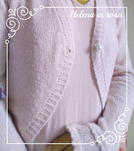 Wedding bolero cardigan for brides knitted in white and rose