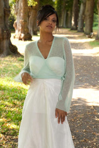 Bridal knit cardigan knitted in white, ivory, rose, pale blue and mint