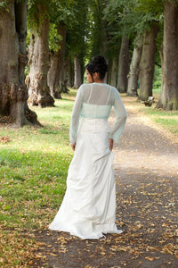 bridal coverup knitted in white, ivory, pale blue, purple, rose