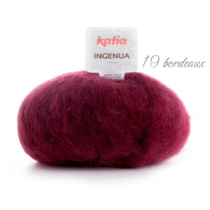 Knitting a chunky sweater with ingenua mohair from katia bordeaux 19