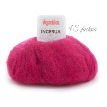 Load image into Gallery viewer, Knitting a chunky sweater with ingenua mohair from katia fuchsia 45