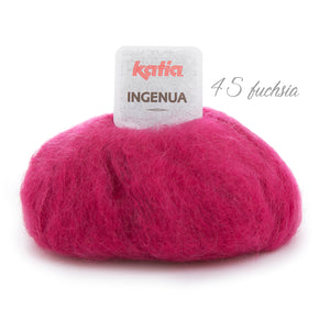 Knitting a chunky sweater with ingenua mohair from katia fuchsia 45